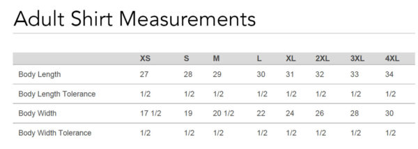 Adult Shirt Measurements