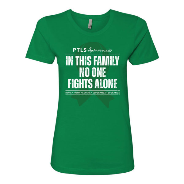 In This Family No One Fights Alone Women's Boyfriend Tee - Kelly Green