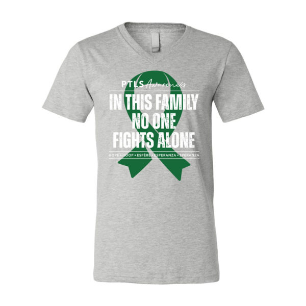 In This Family No One Fights Alone V-Neck - Athletic Heather