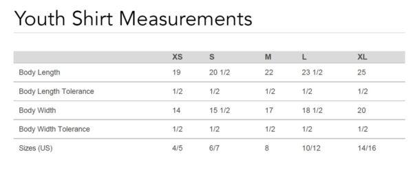 Youth Shirt Measurements
